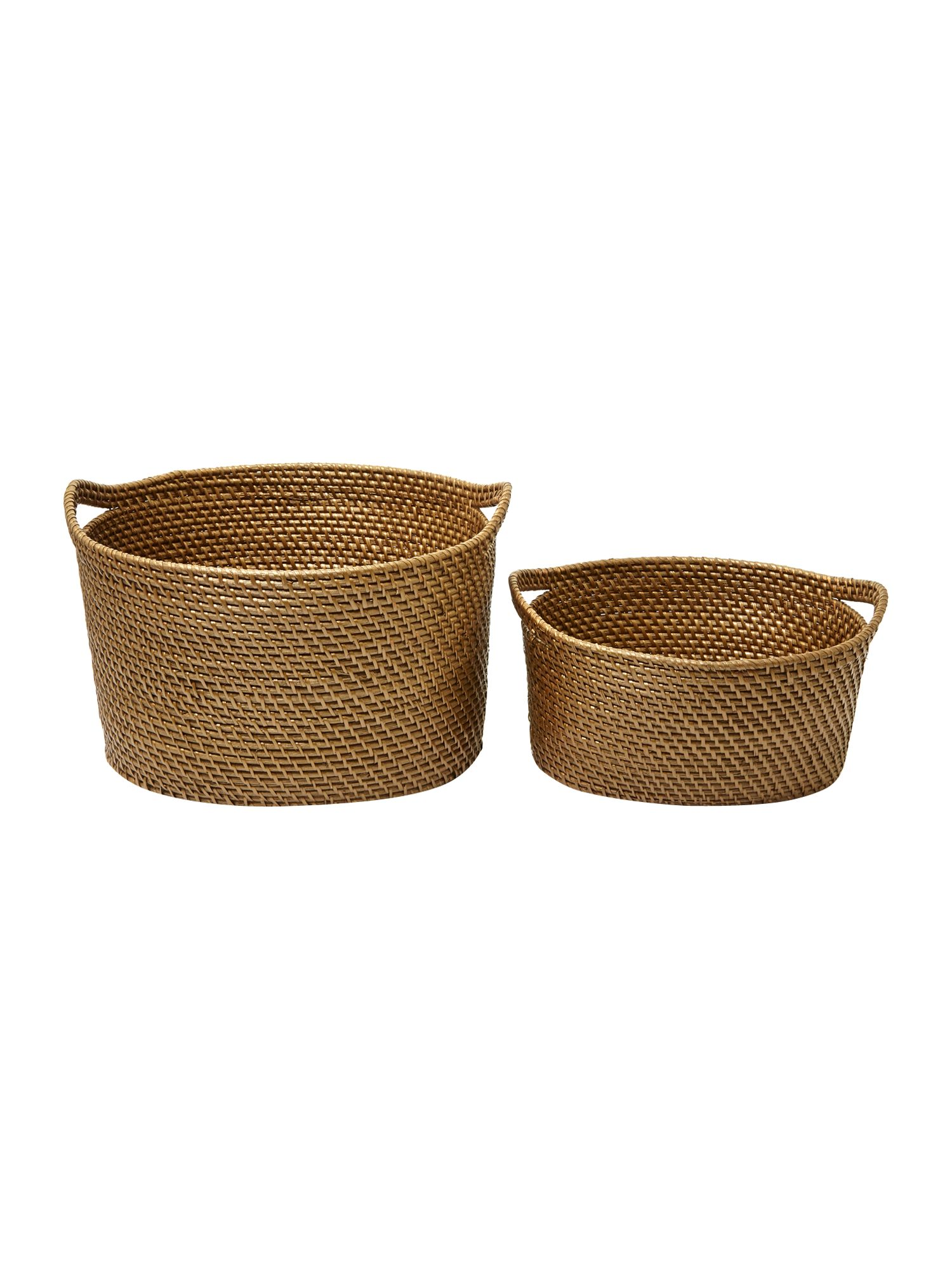 Set of 2 oval rattan baskets, bronze