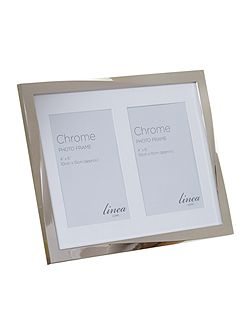 Linea Chrome plated twist double aperture photo frame