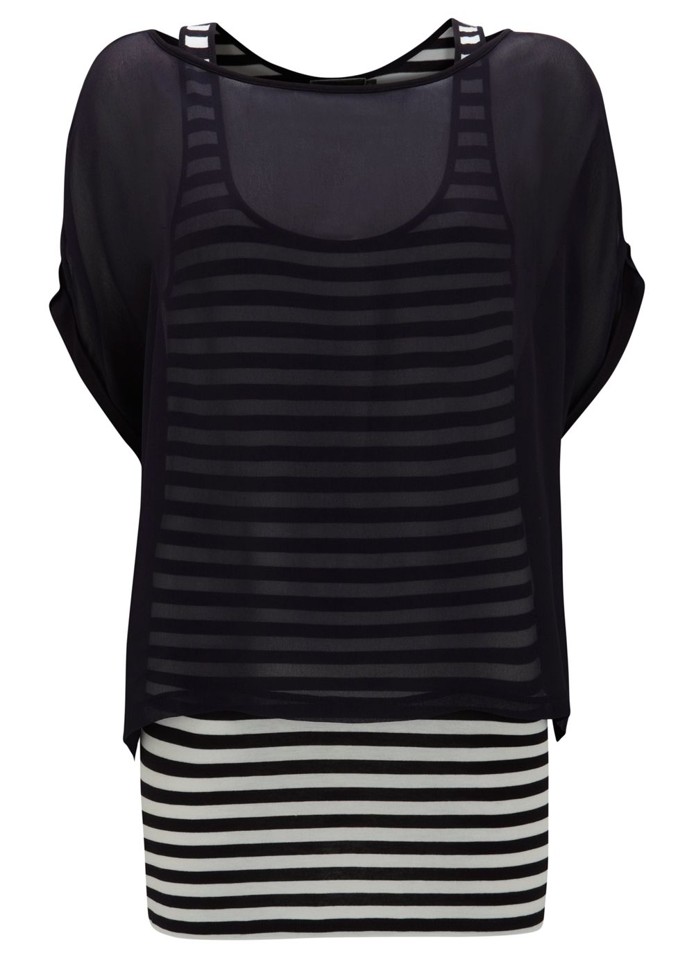Navy stripe double layer top