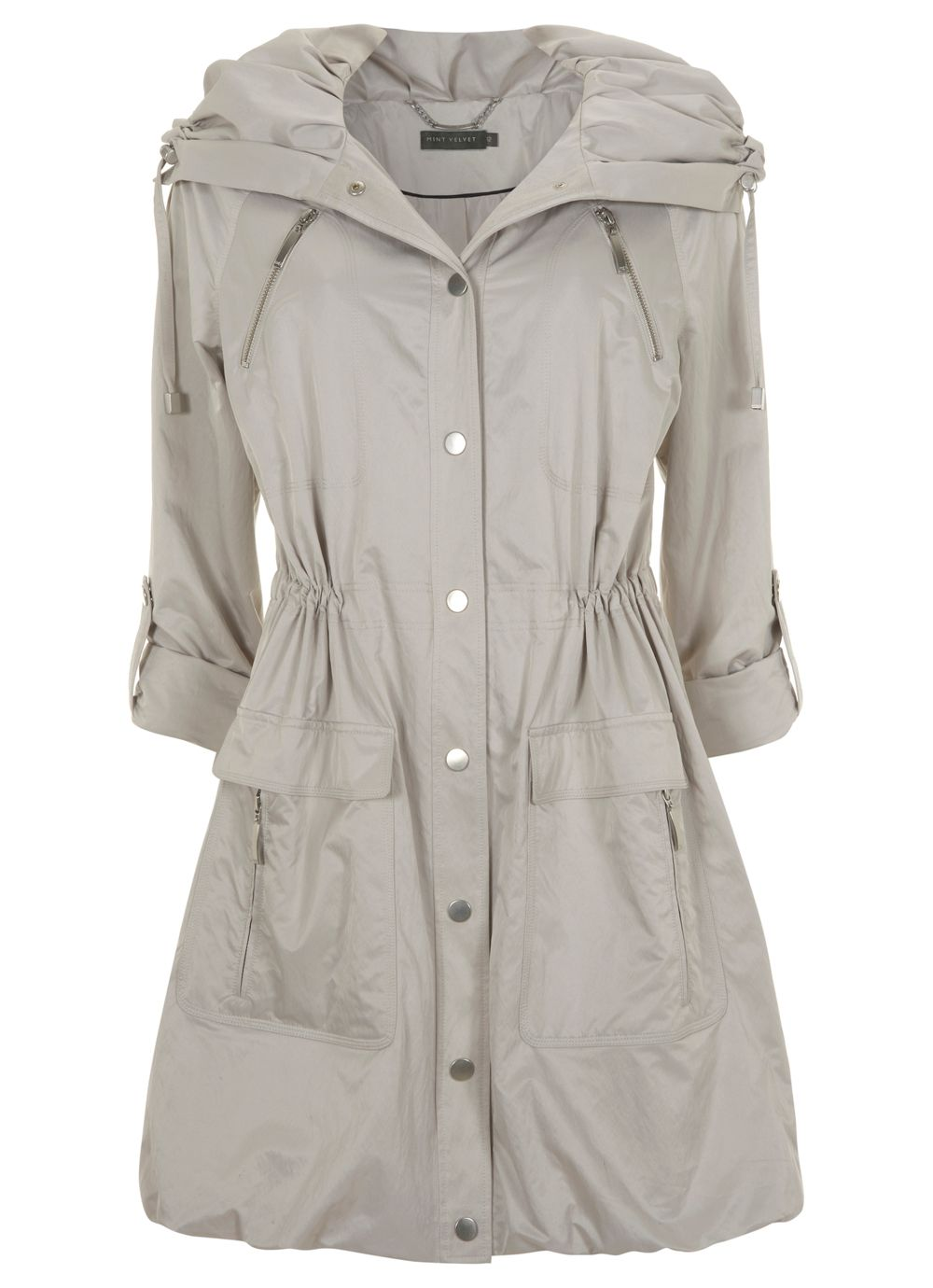 Stone ruched collar parka