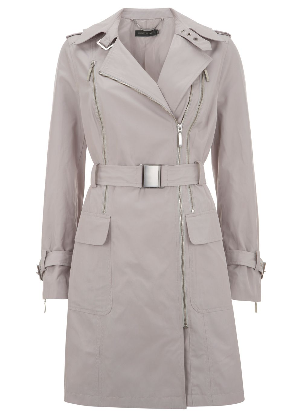 Stone double zip trench coat
