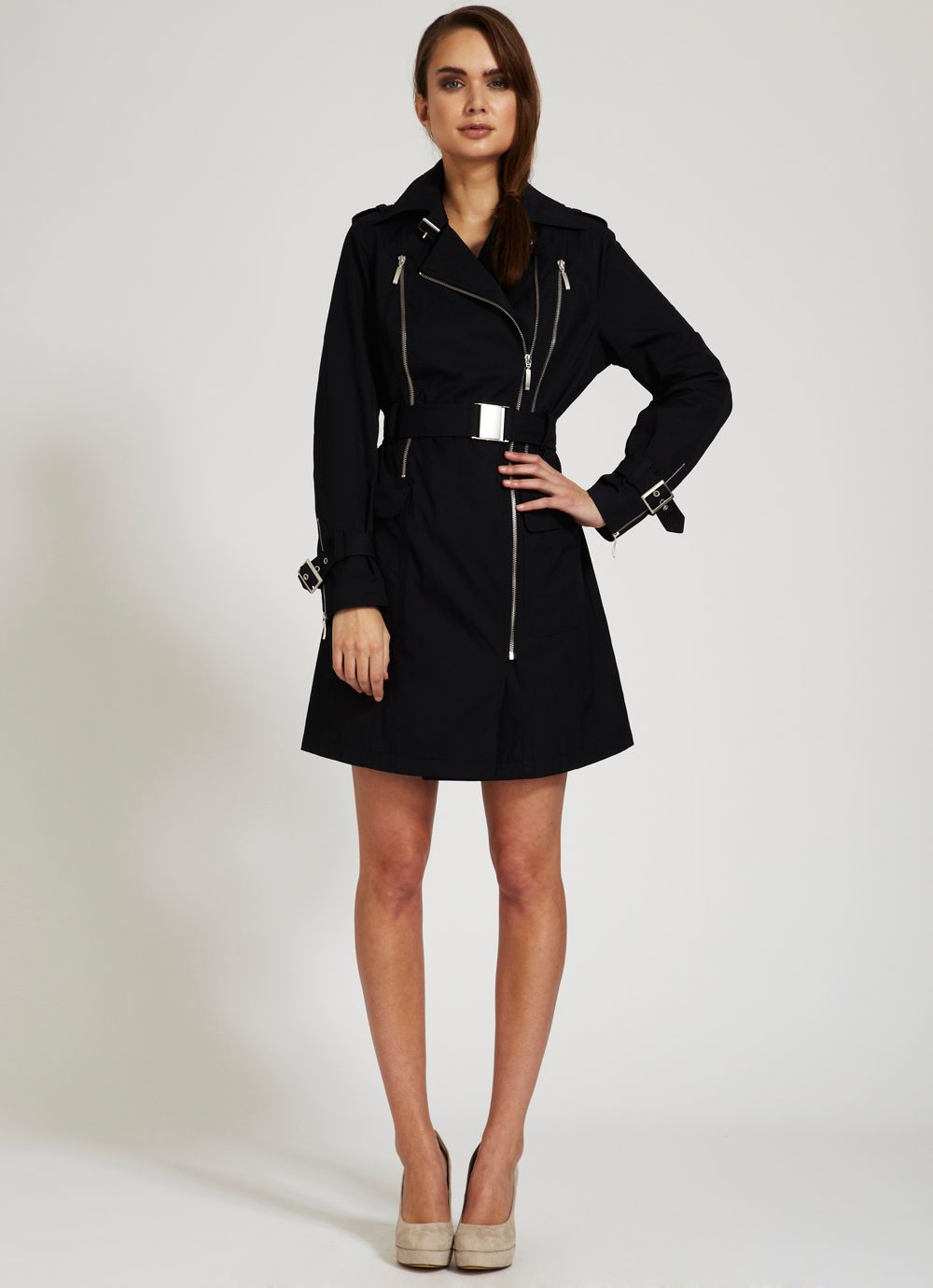 Navy double zip trench coat