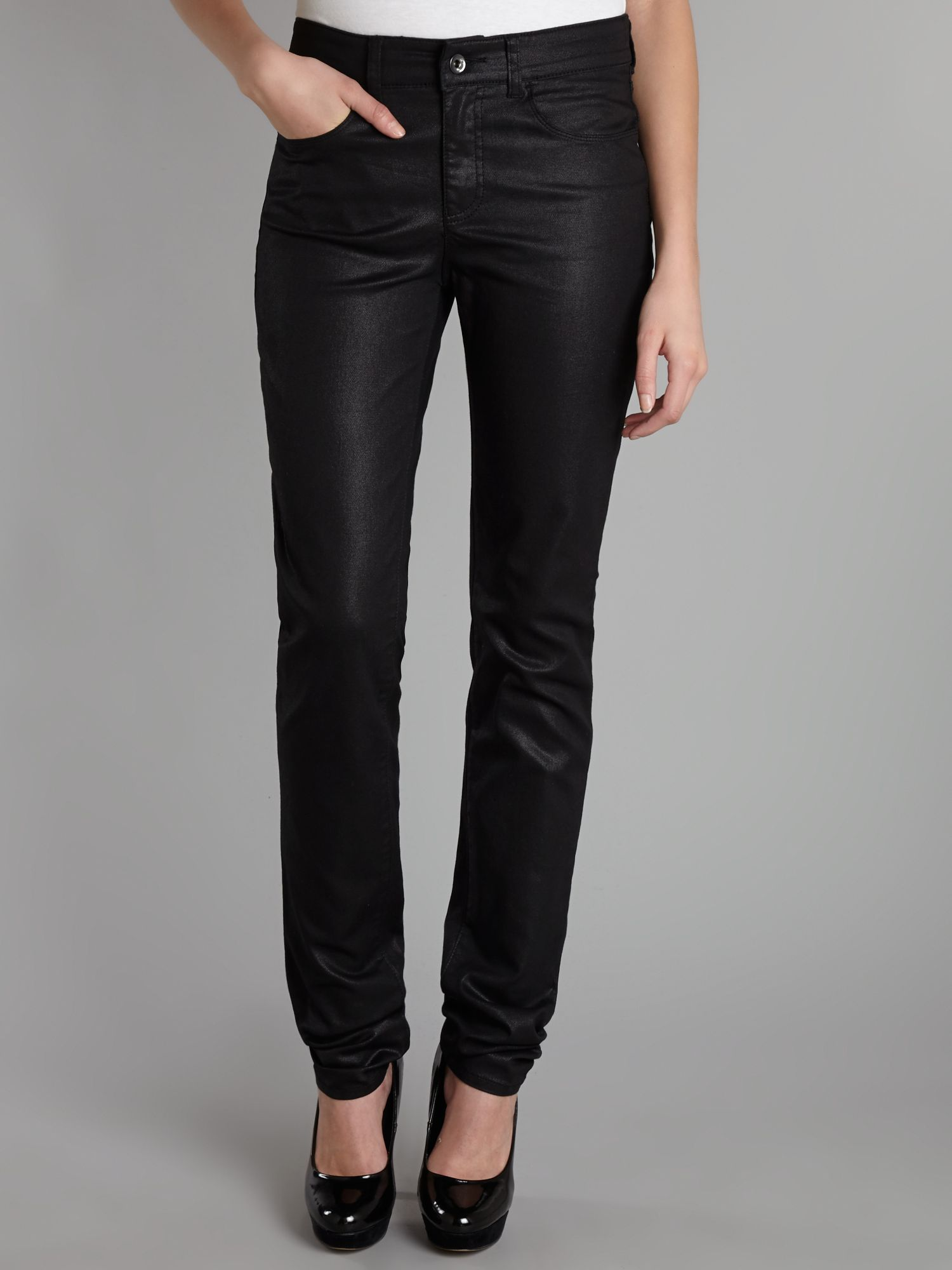J18 high-rise slim leg metallic jeans