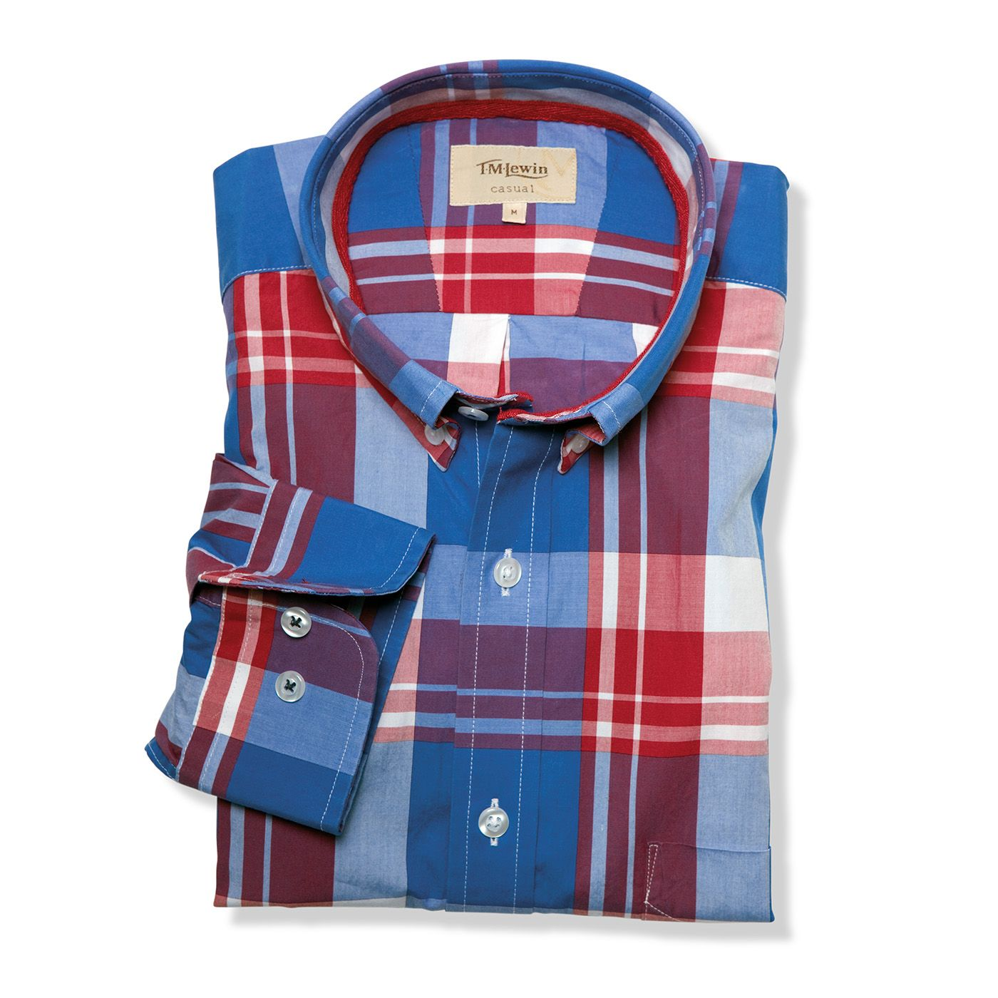 Blue red check casual shirt