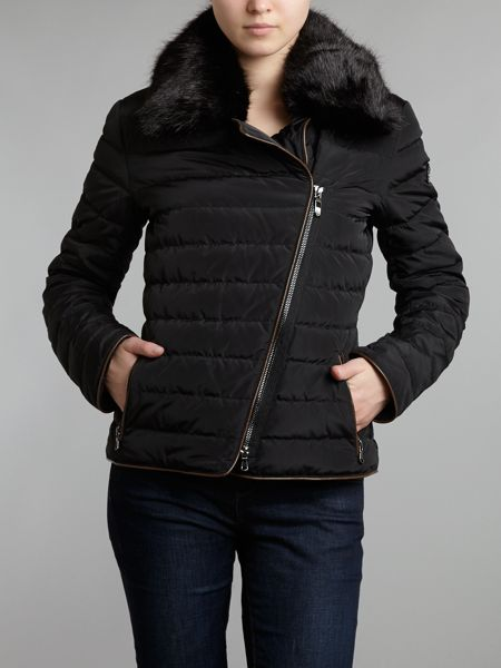 Armani Jeans Short padded jacket with faux fur collar