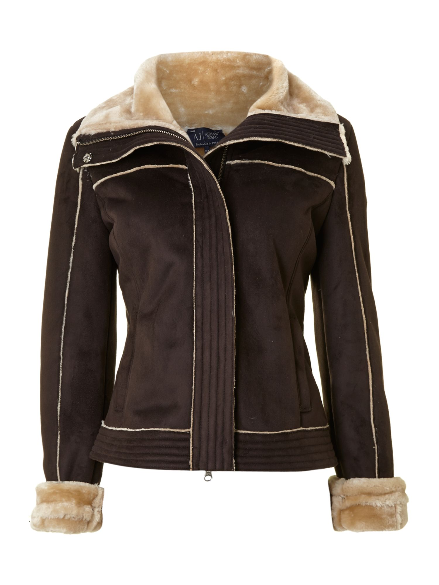 Shearling jacket with faux fur collar