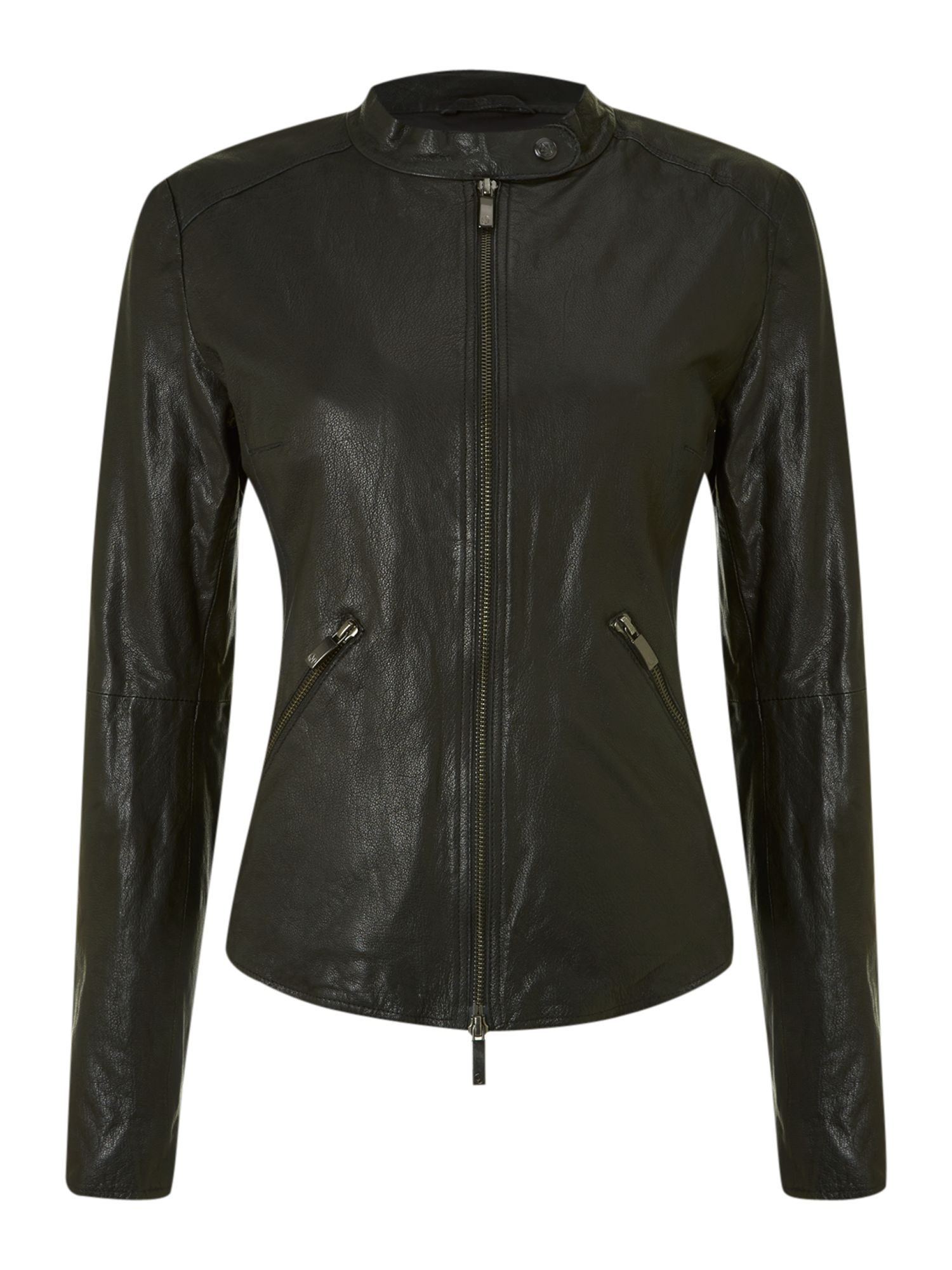Armani Jeans Collarless fly front leather jacket, Black