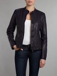 Collarless fly front leather jacket