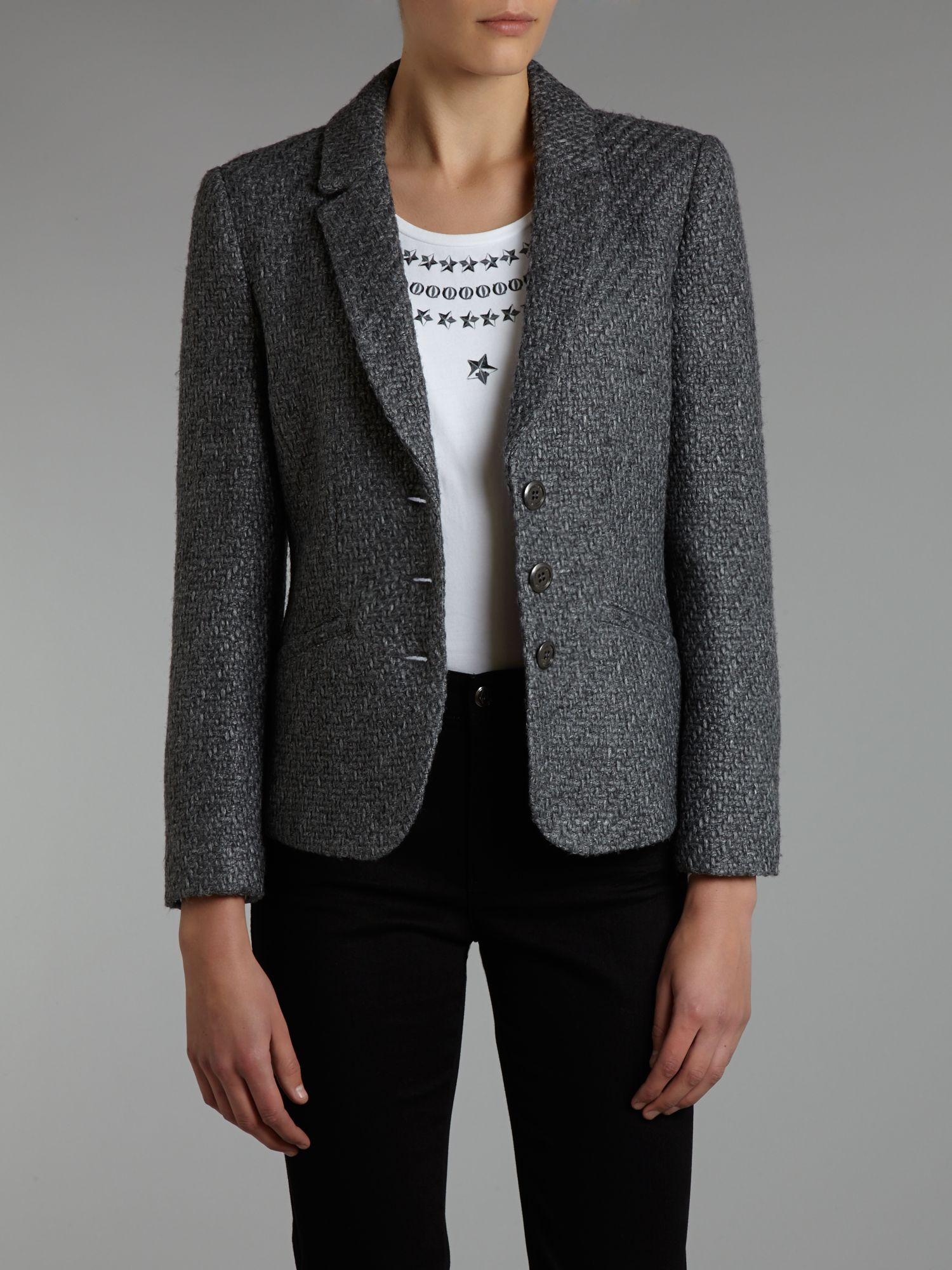 Single breasted wool mix blazer