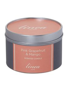 Pink grapefruit & mango tin candle