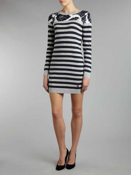 Armani Jeans Knitted floral and stripe dress