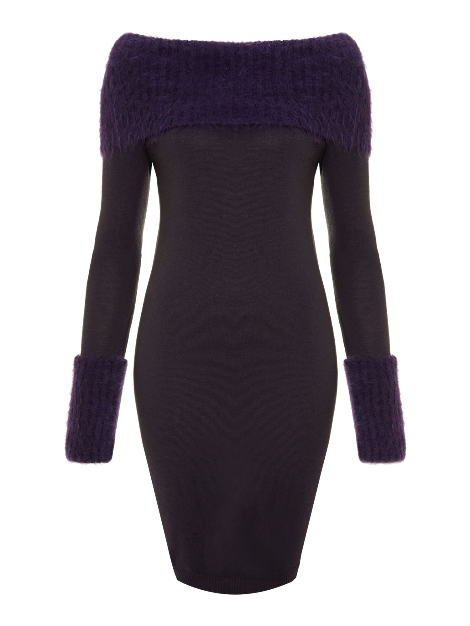 Jumper dress with oversize cuffs and collar