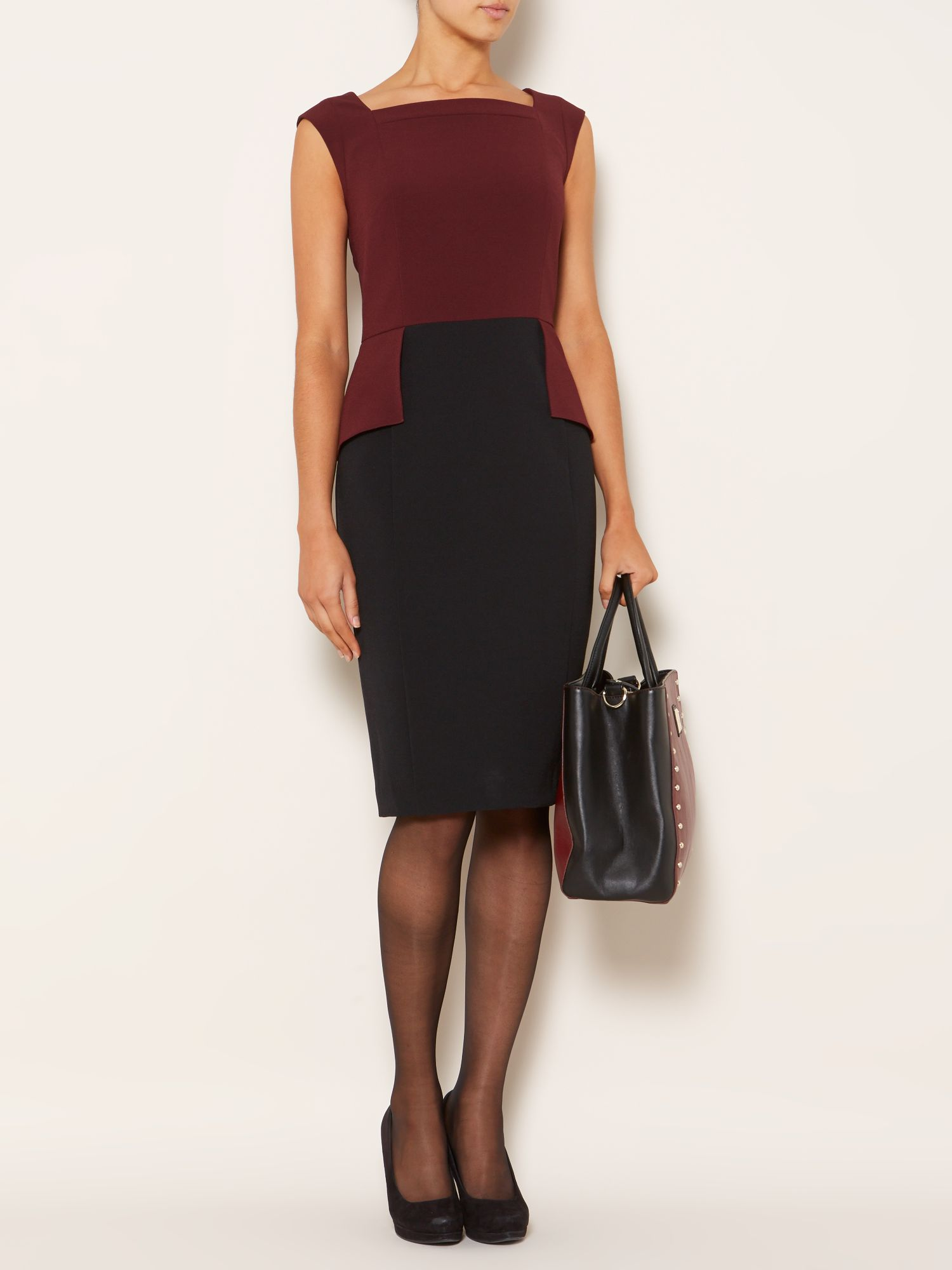 Stretch woven peplum colourblock dress