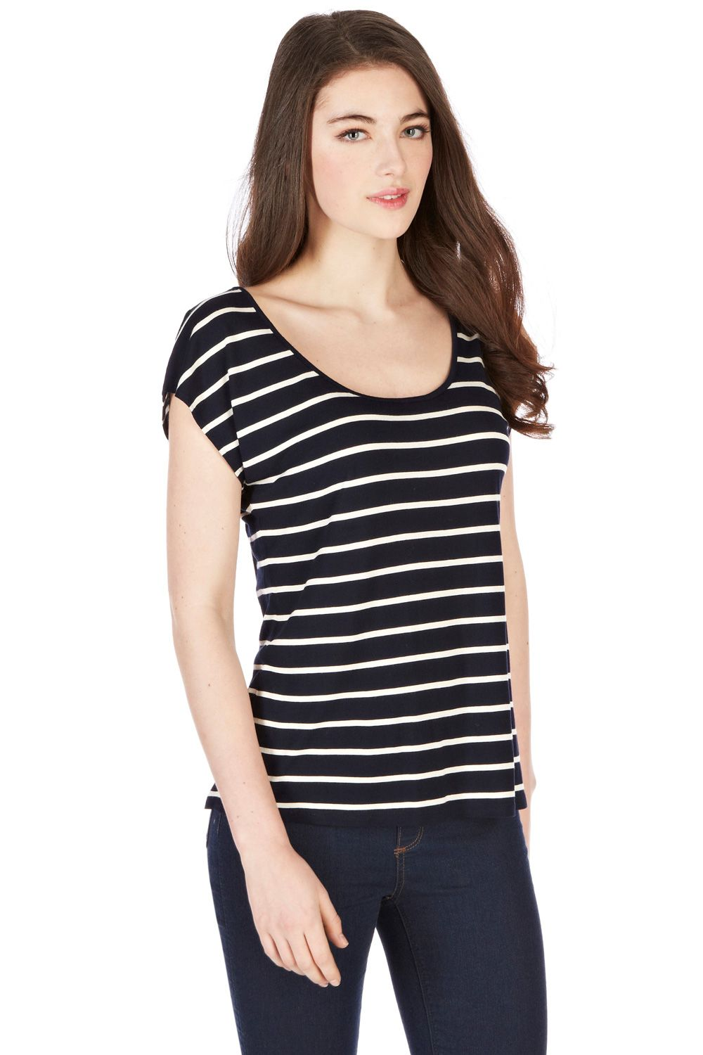 Stripe broderie back top
