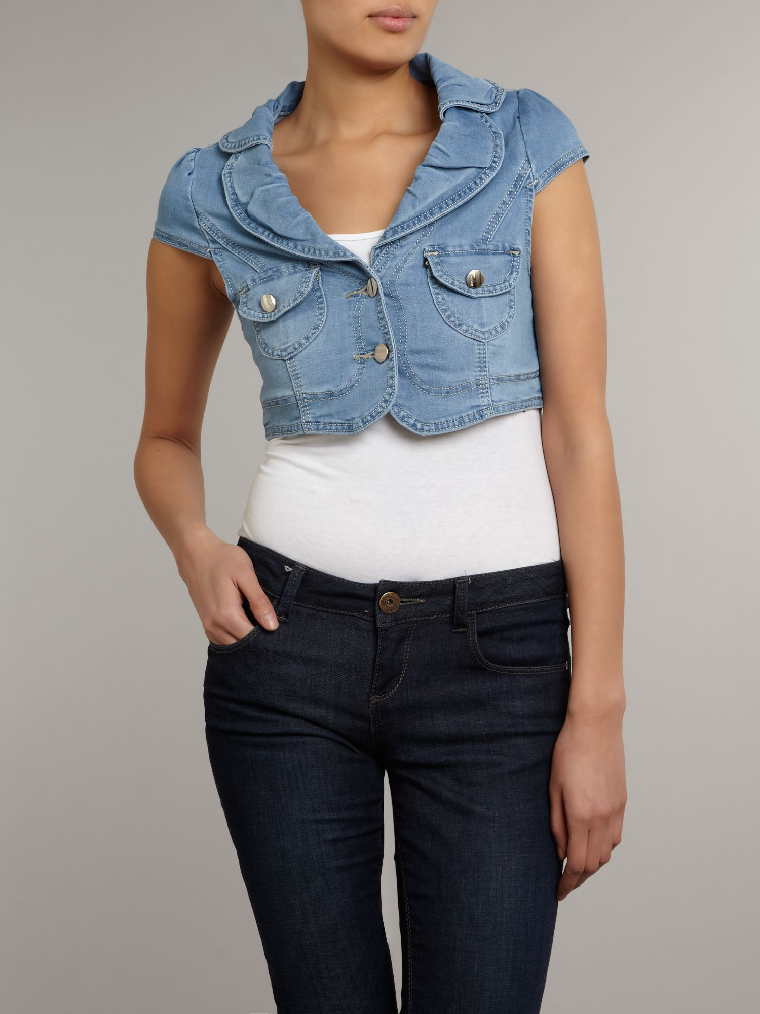Wide collar denim bolero