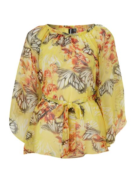 Izabel London Butterfly print poncho