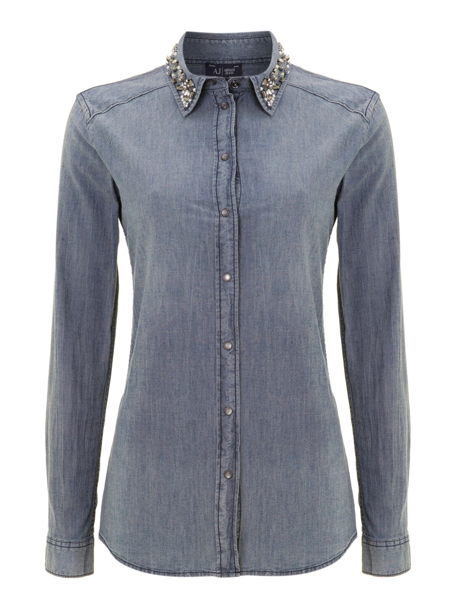 Denim shirt with embellished collar