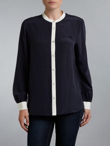 Silk blouse with contrast trim