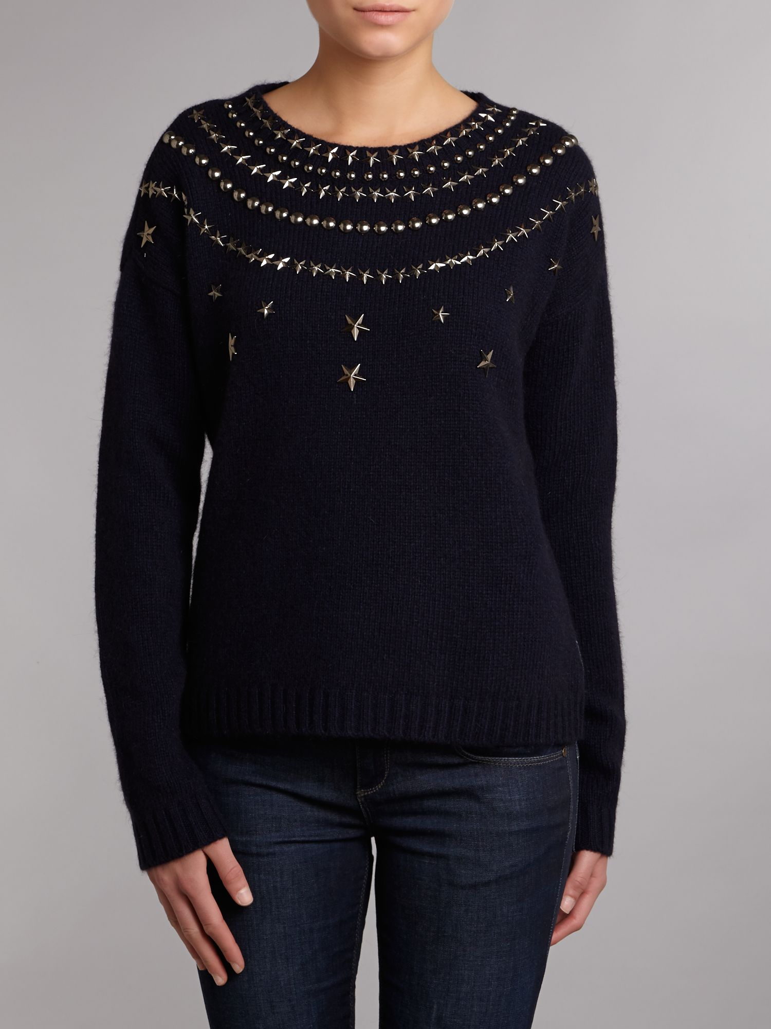 Wool jumper with star stud detail