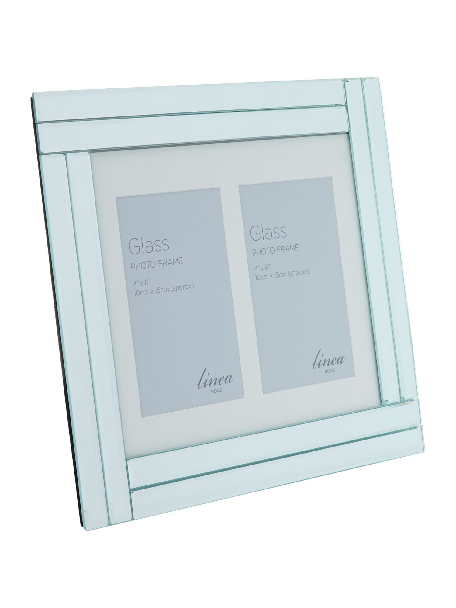 Double bevel mirror multi aperture photo frame