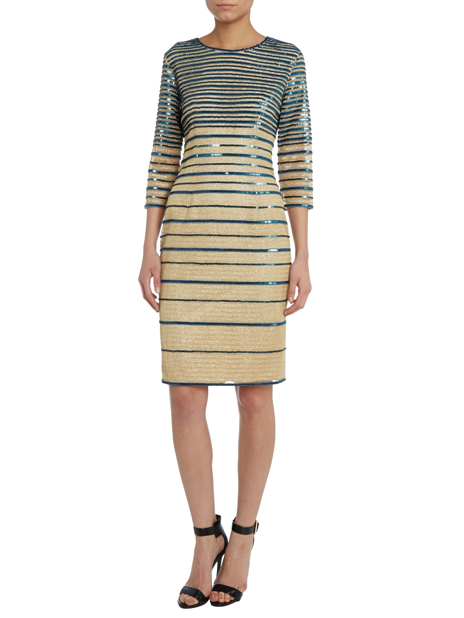 3/4 sleeve Ling striped dress