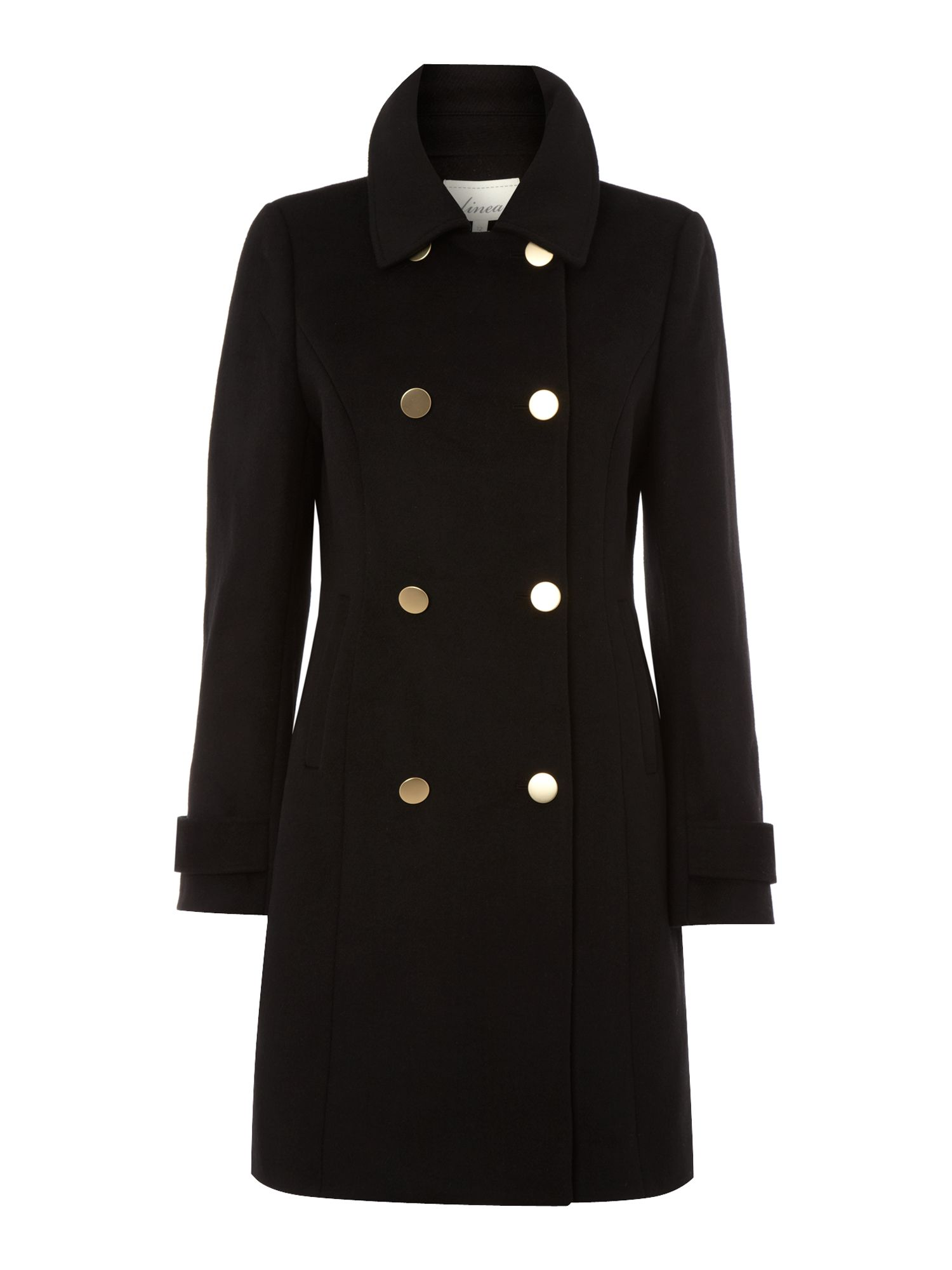 Wool blend double breasted military coat