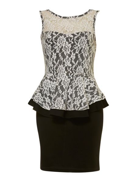 Izabel London Lace peplum body-con dress