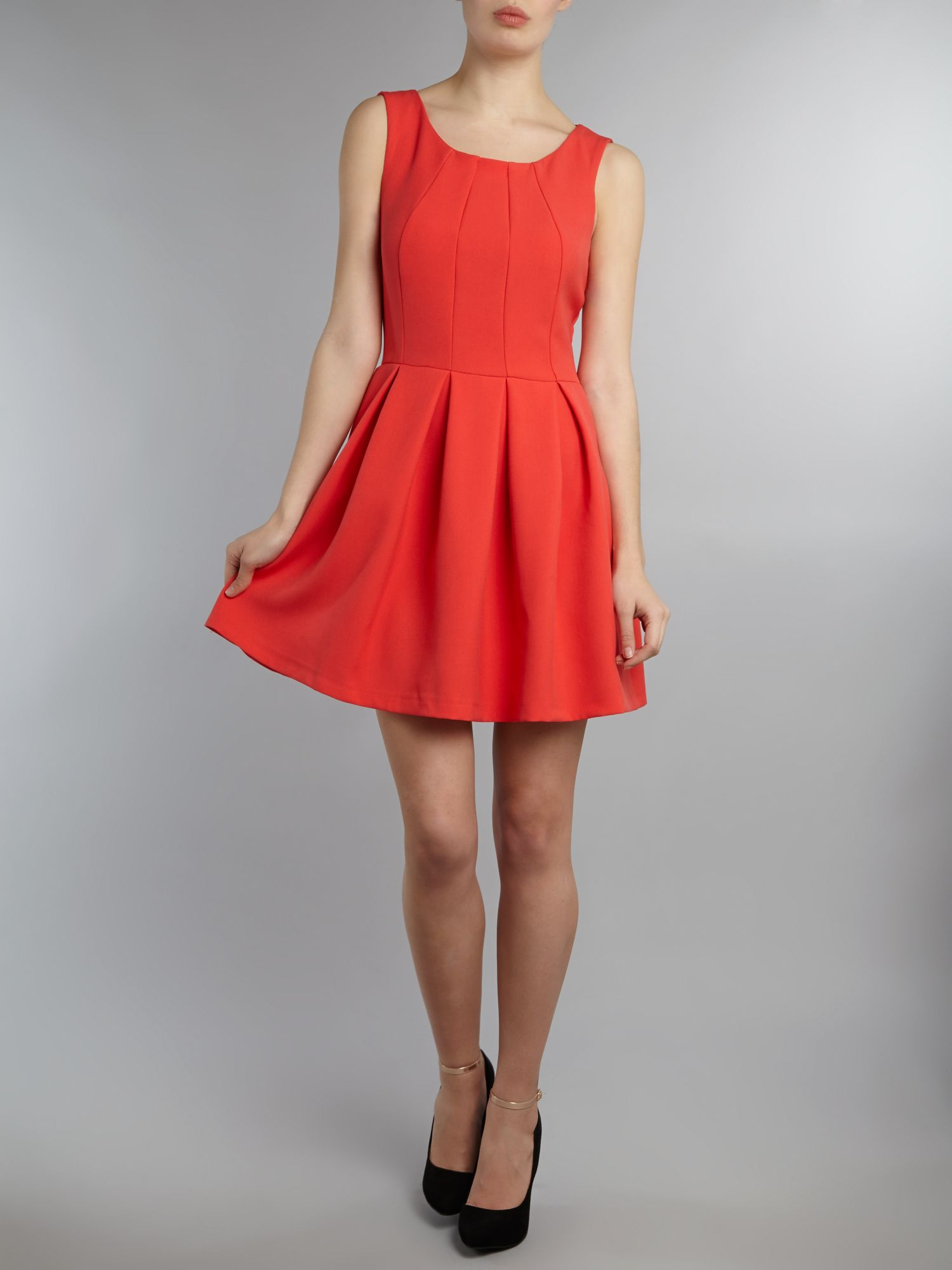 Seam bodice button back dress
