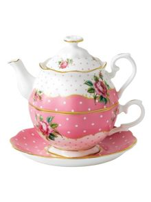 Cheeky Pink vintage tea for one set