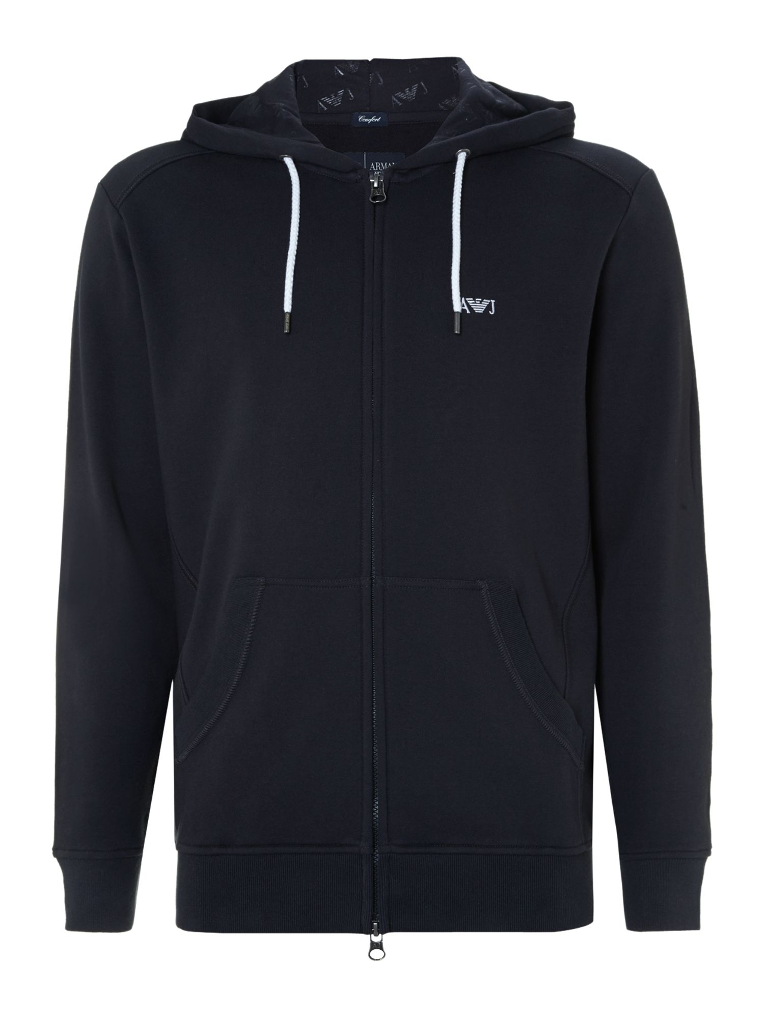 Large logo zip up hooded jumper