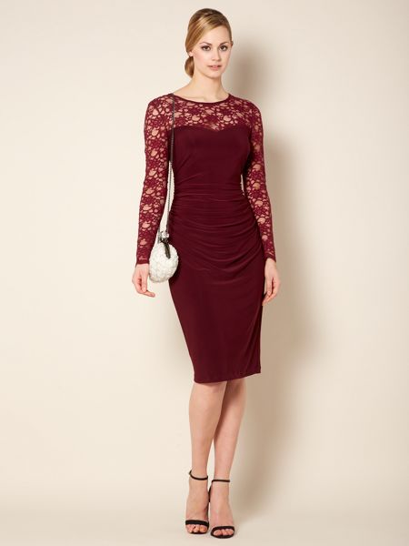 Untold Jersey dress with lace sleeves