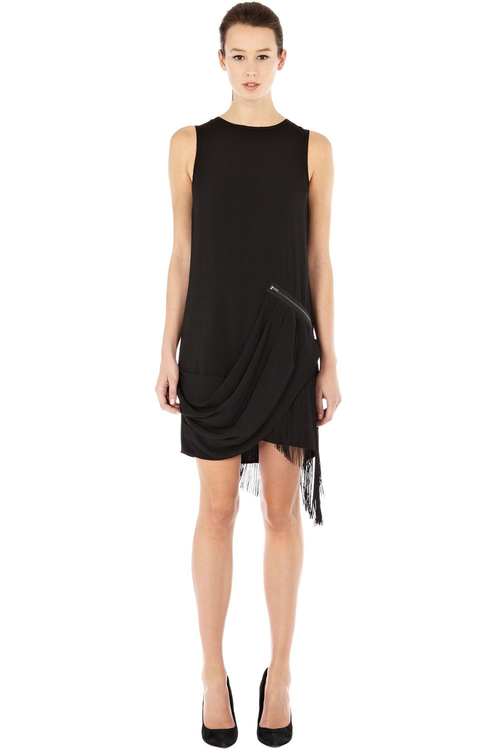 Zip and fringe hem dress