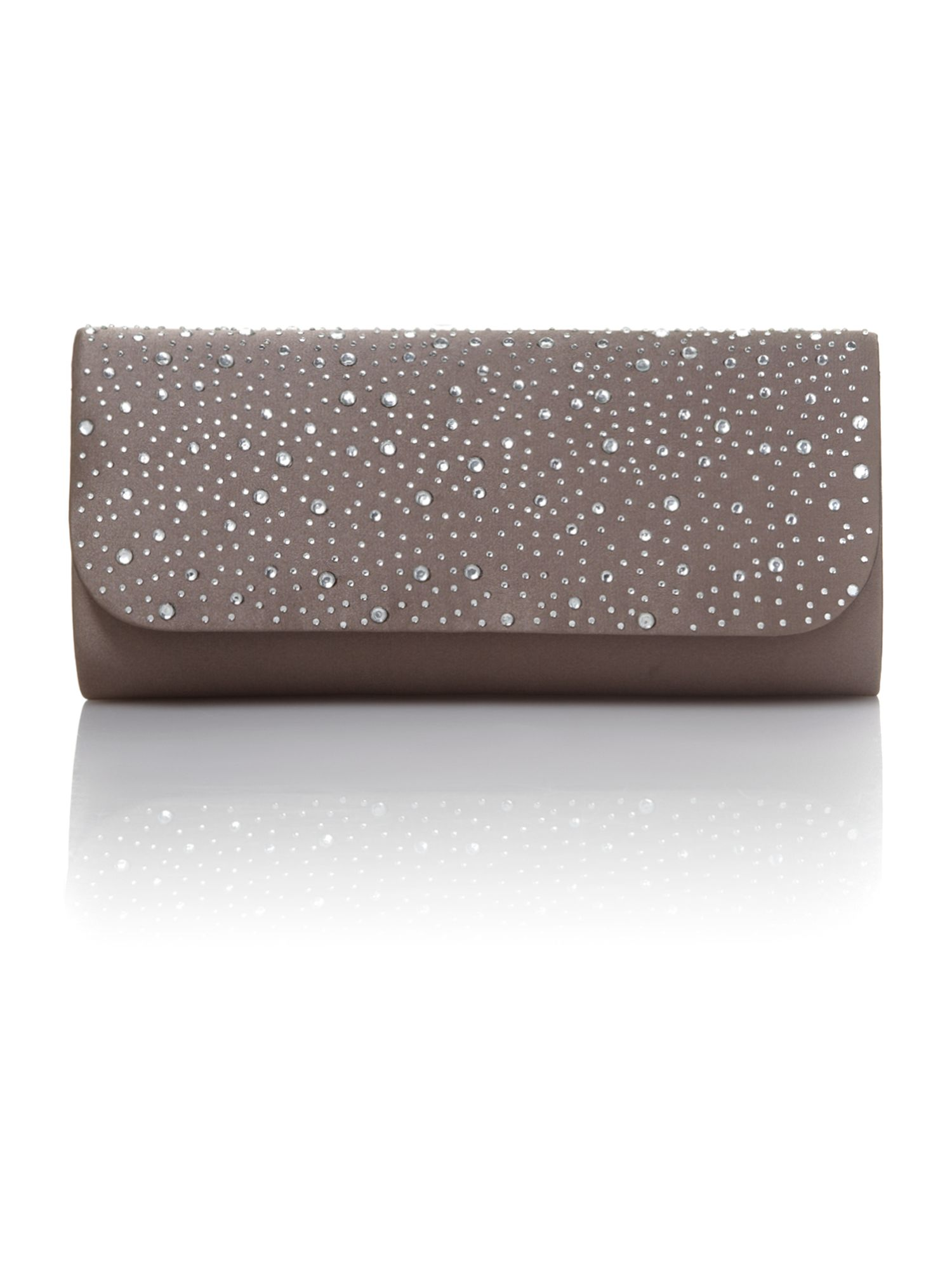 Crystal flap over clutch bag