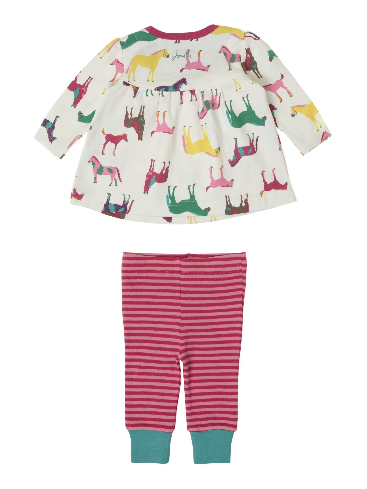 Baby girl`s horse print top & stripe leggings set