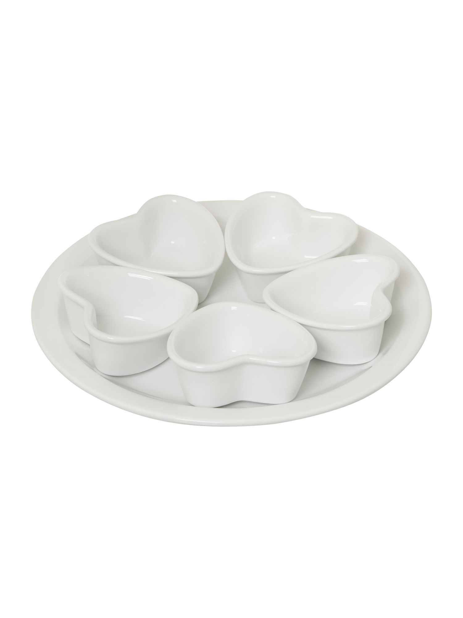 Beau heart serving plate with mini bowls