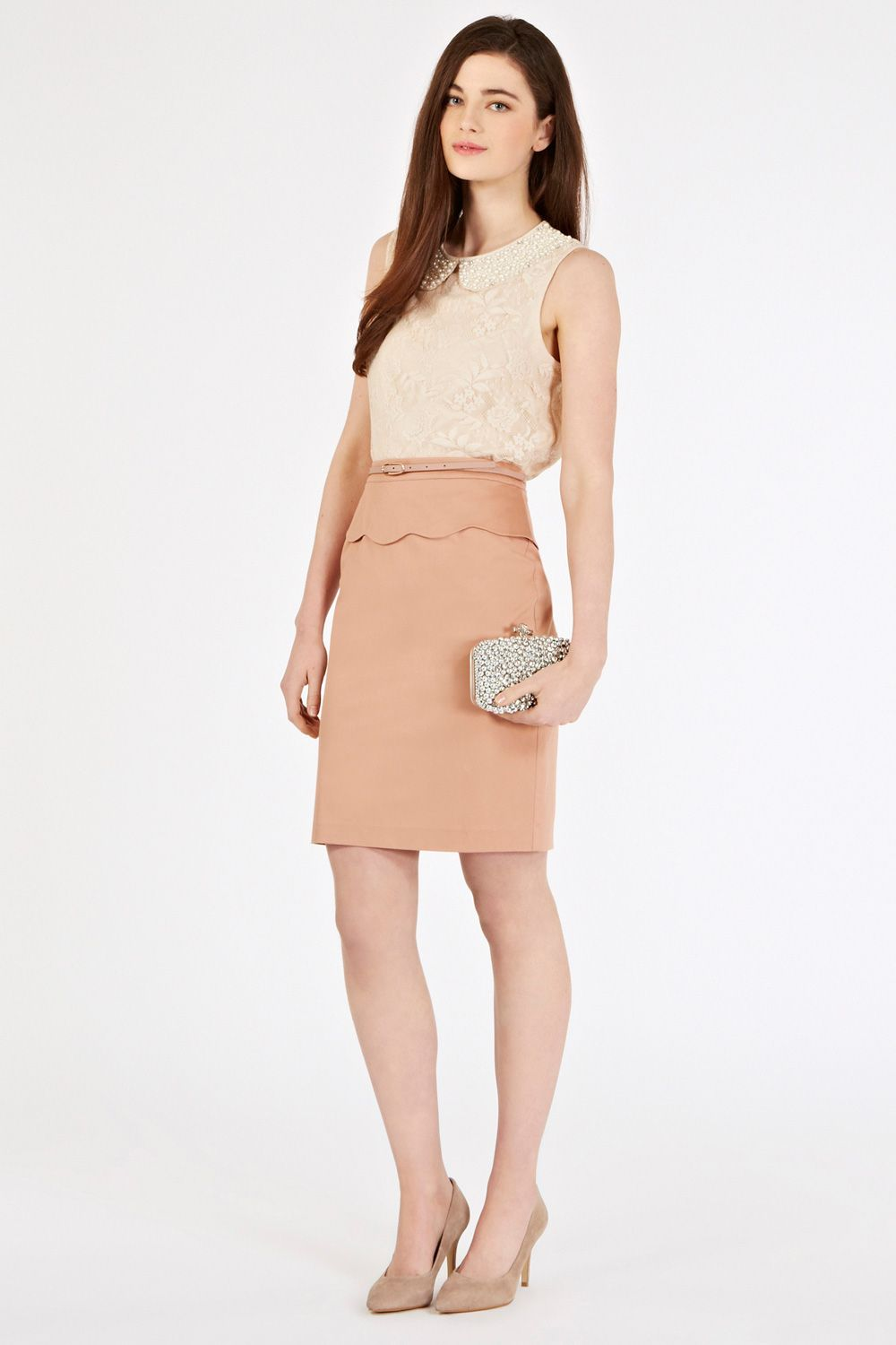 Scallop peplum pencil skirt