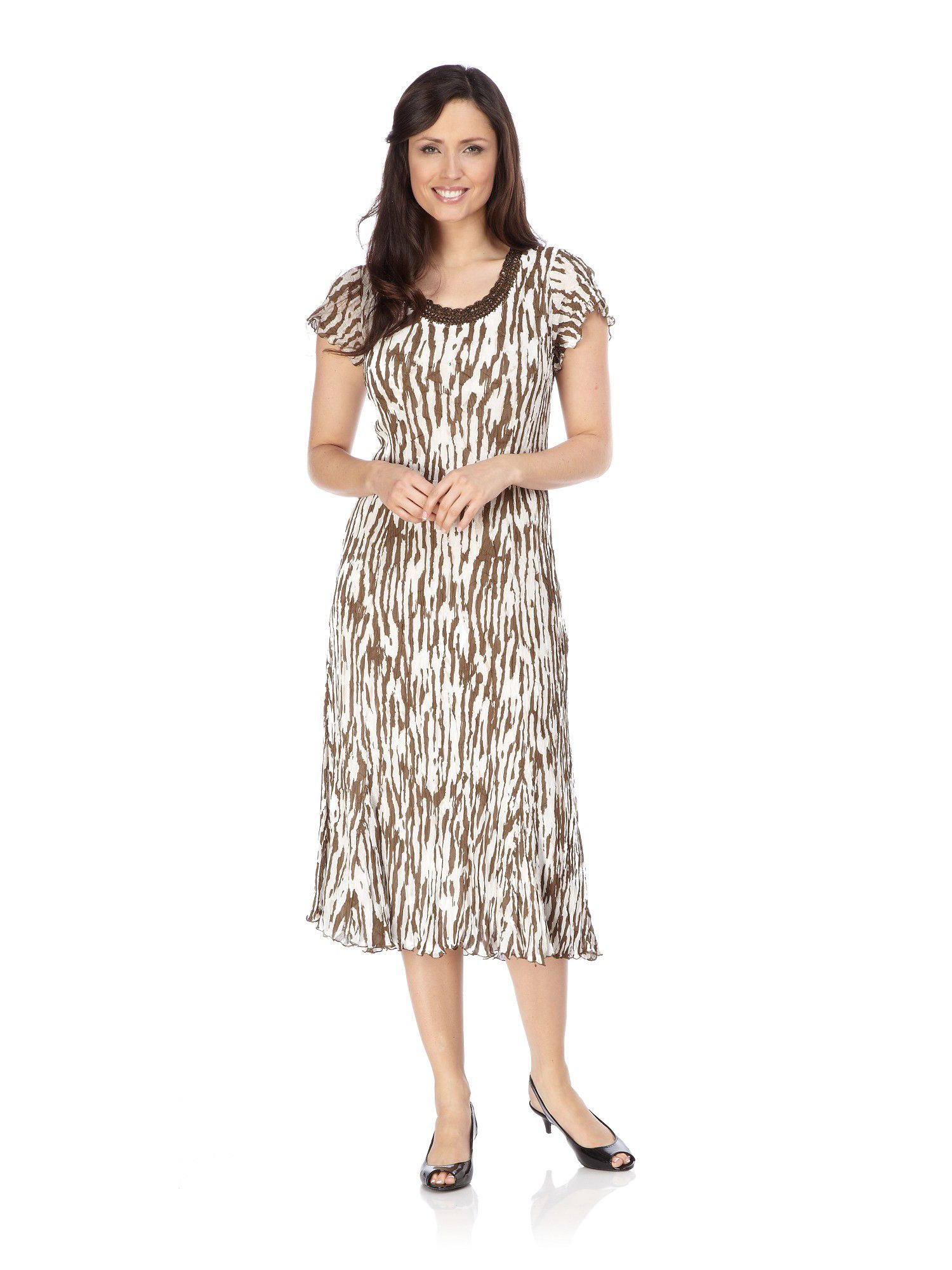 Bark print crinkle dress