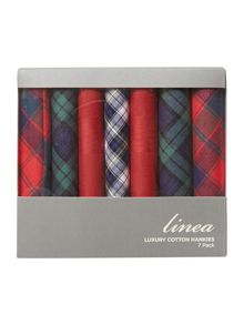 7 pack tartan and check hankies