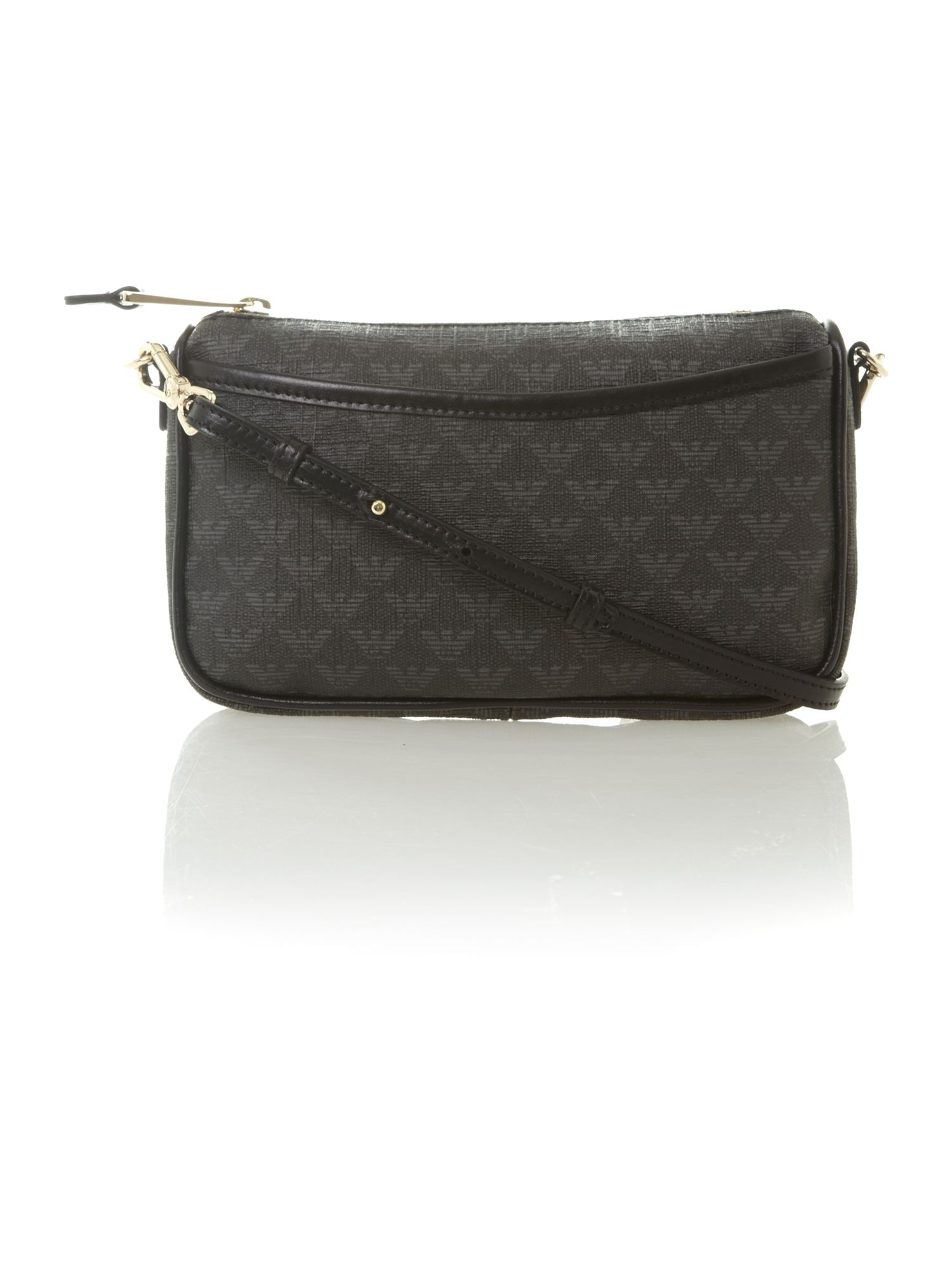 Black logo saffiano small crossbody bag
