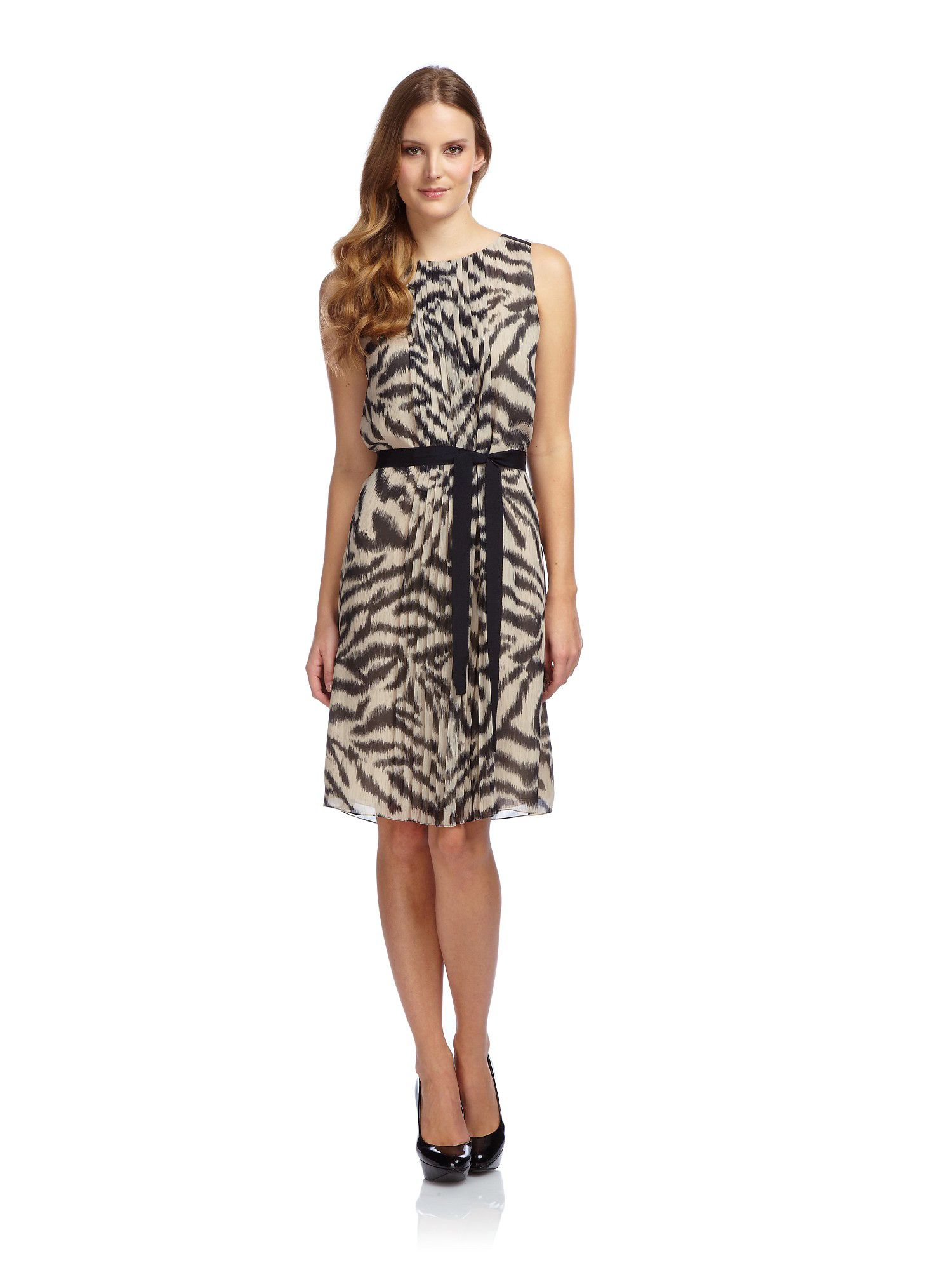 Zebra pleat front dress
