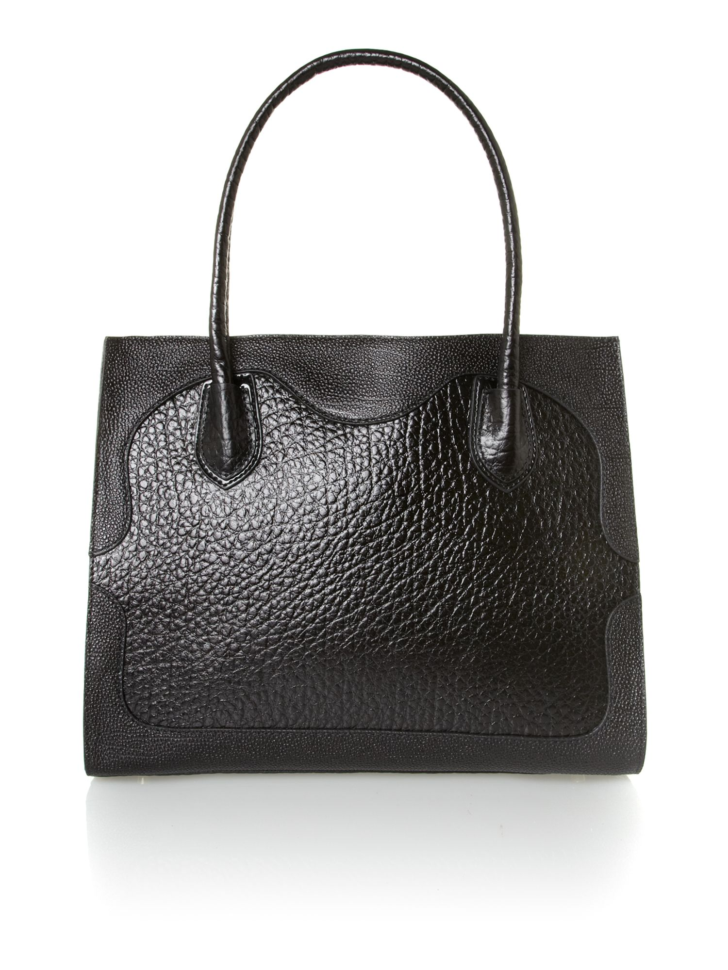 French grain black shoulder bag
