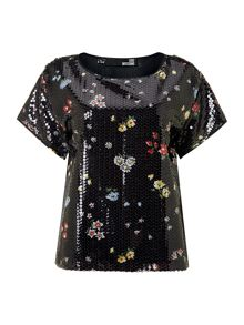 Short sleeved sequin floral top