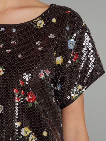 Love Moschino Short sleeved sequin floral top