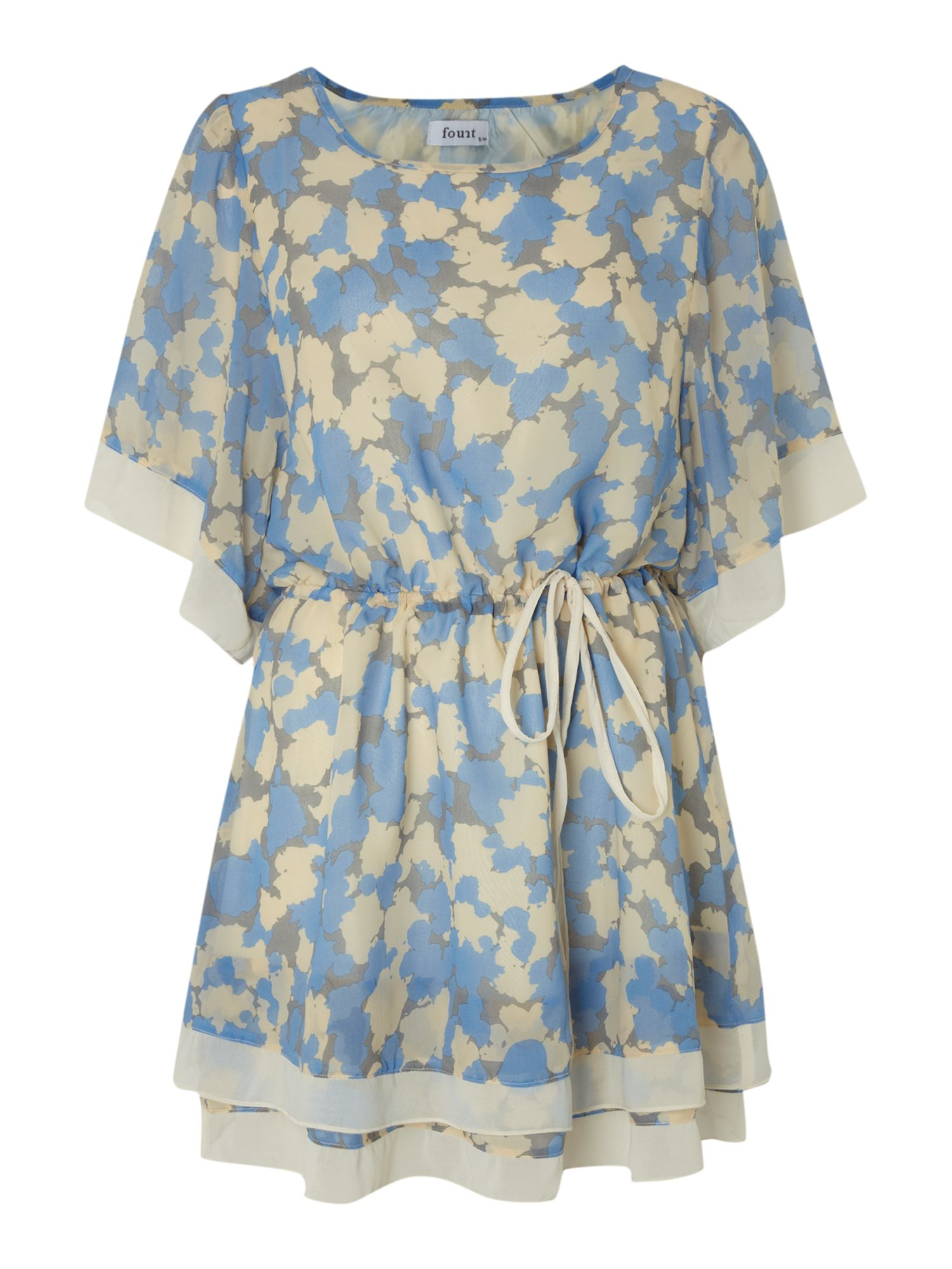 Colour blocking layered floral dress