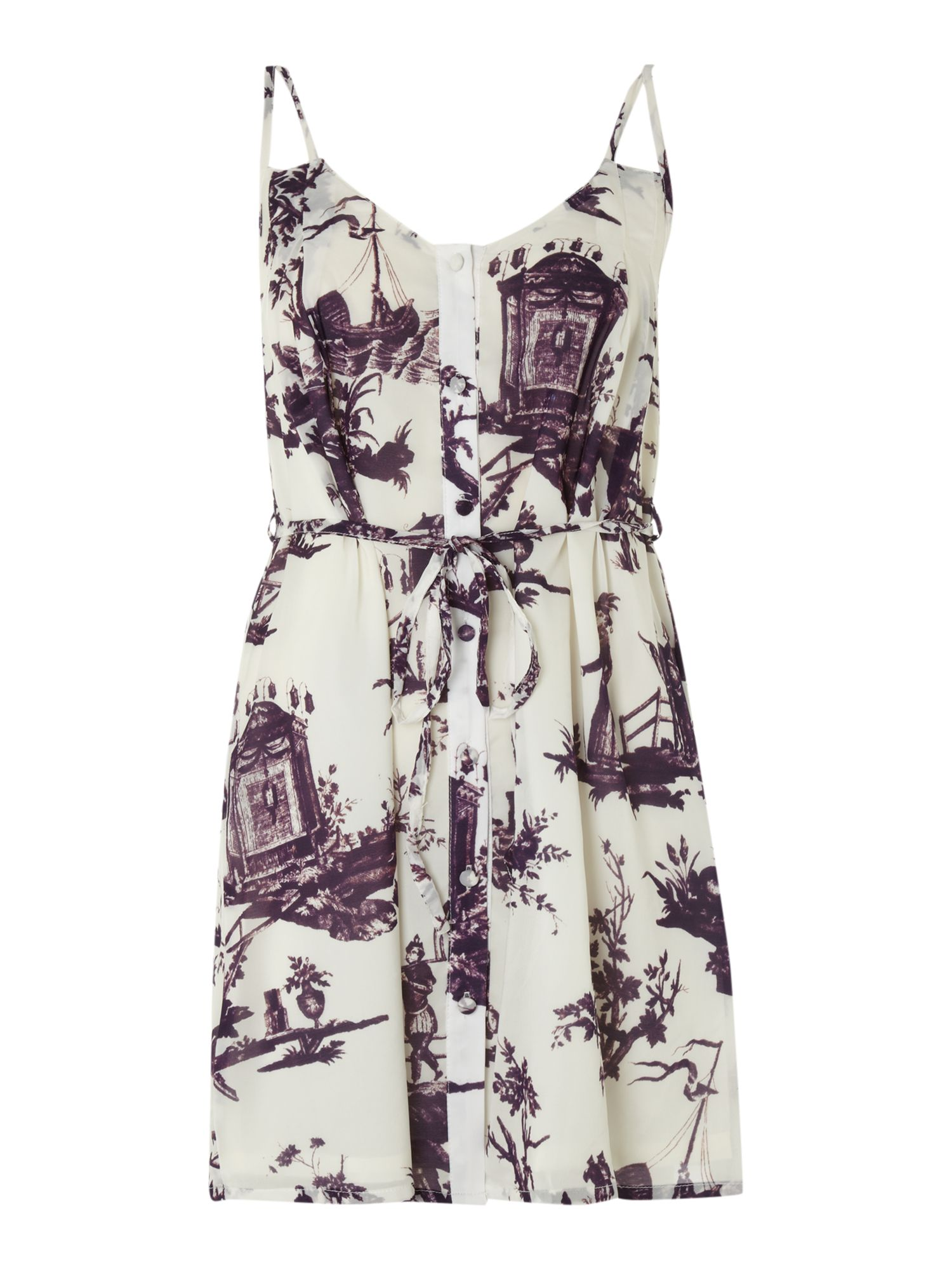 Vintage porcelain print silk dress