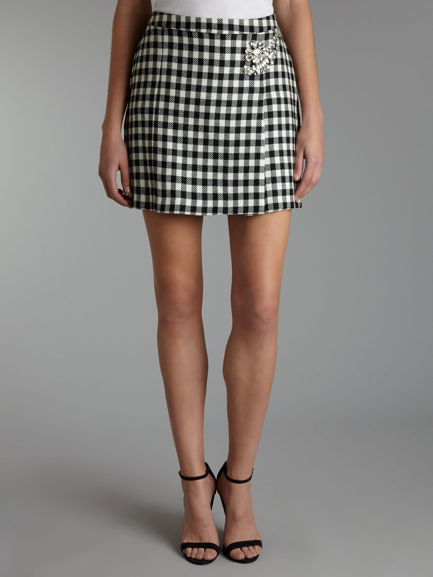 Checked mini skirt with embellishment