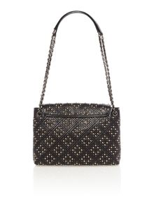 Baroque black studded shoulder bag