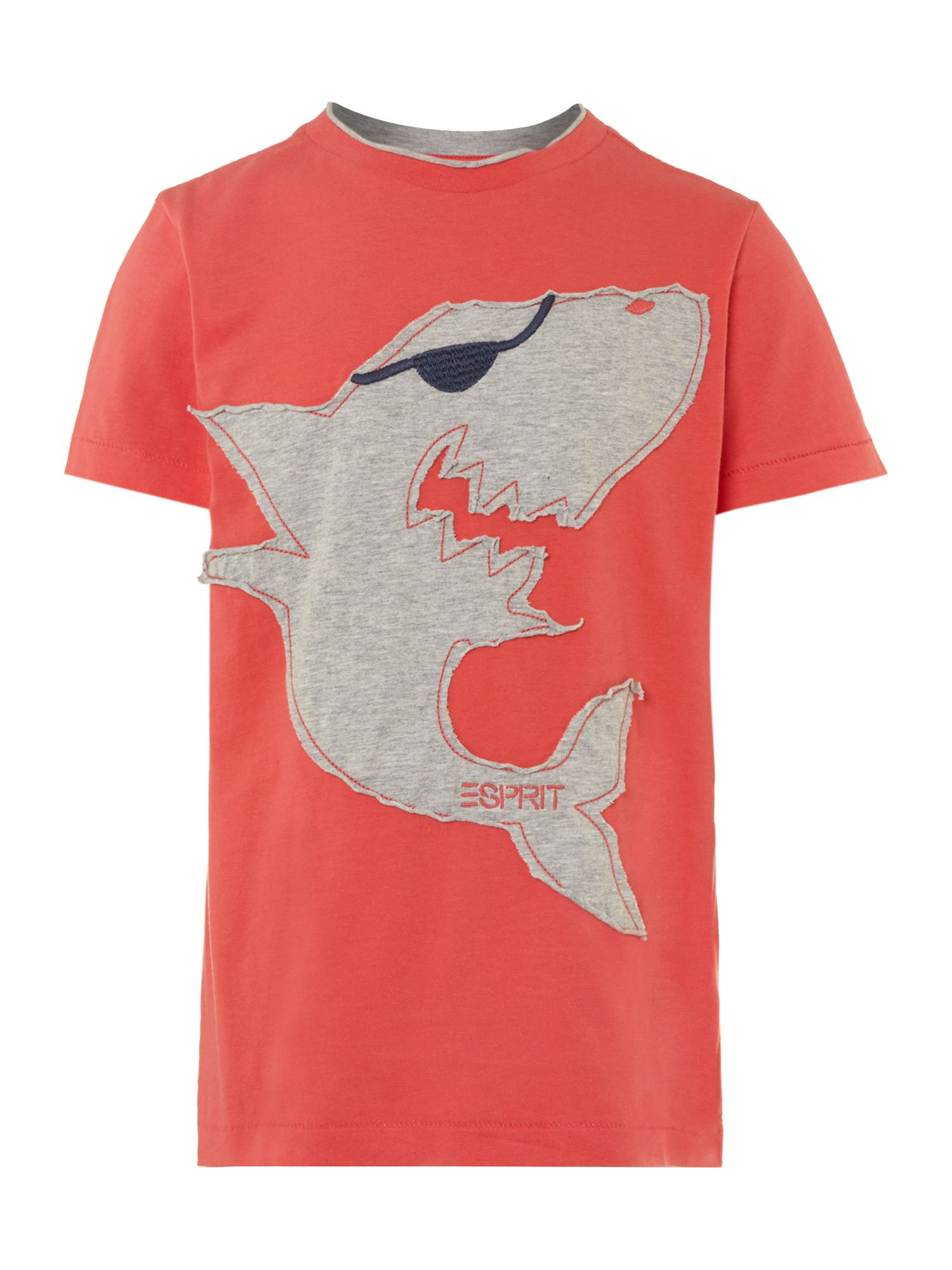 Boy`s short-sleeved shark applique T-shirt