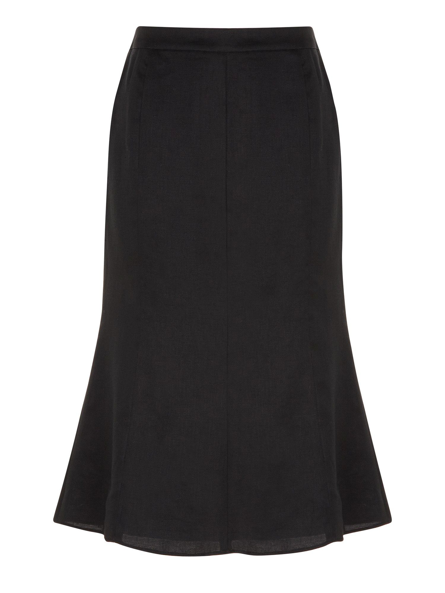 Black textured linen skirt