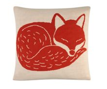 Mr Fox knitted cushion